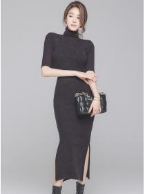 Fashion Lady Stand Collar Split Slim Knitting Dress