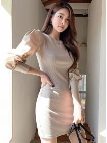 Korea Wholesale Puff Sleeve Slim Knitting Dress