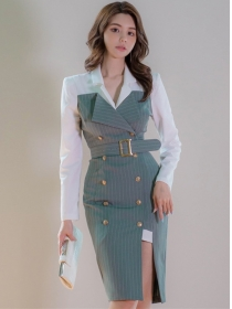 Modern Lady Double-breasted Stripes Shirt Collar Slim Dress