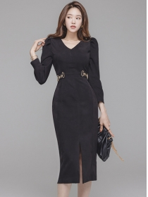 Korea OL Fashion V-neck High Waist Bodycon Dress