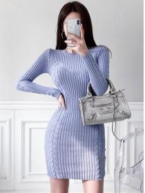 Autumn New 2 Colors Stripes Knitting Long Sleeve Dress