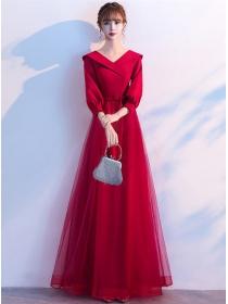 Elegant Lady High Waist Puff Sleeve Gauze Fluffy Maxi Dress