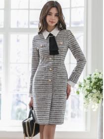 Quality Fashion Doll Collar Single-breasted Plaids Slim Dress
