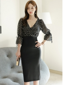 Fashion Korea V-neck Dots Flare Sleeve Slim Dress