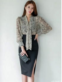 Retro Korea Tie V-neck Blouse with Split Skinny Skirt