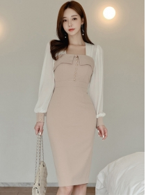Grace Lady Square Collar Fitted Waist Puff Sleeve Dress