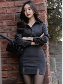 Korea Stylish Shirt Collar Stripes Slim Two Pieces Dress