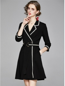Modern Lady Tailored Collar Fitted Waist Coat Dress