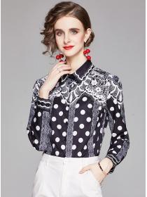 Europe Stylish Shirt Collar Flowers Long Sleeve Blouse