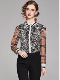 Wholesale Europe Plaids Leopard Long Sleeve Blouse