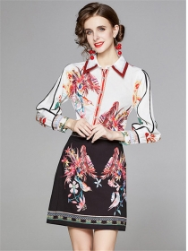 Europe Stylish Flowers Puff Sleeve Two Pieces Dress