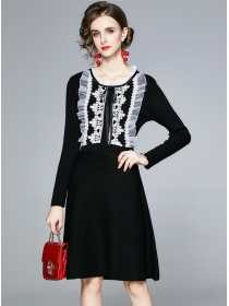 Pretty Wholesale Lace Flouncing Collar Knitting A-line Dress
