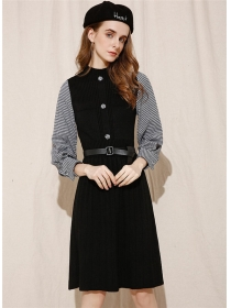 Autumn New Houndstooth Sleeve Pleated Knitting Dress