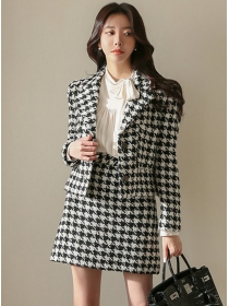 Fashion Lady Tailored Collar Houndstooth Woolen Dress Set