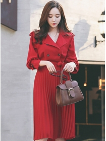 Vogue 2 Colors Double-breasted Tailored Collar Pleated Coat Dress