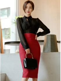 Korea OL Transaprent Chiffon Blouse with High Waist Midi Skirt