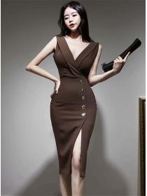 Retro Fashion Low V-neck Single-breasted Skinny Tank Dress