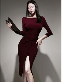 Wholesale Korea Twisted Waist Split Bodycon Dress
