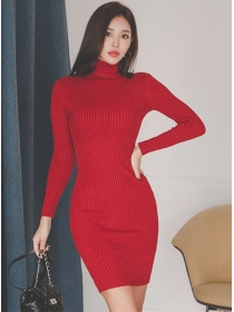 Hot Sell 3 Colors Stand Collar Slim Knitting Dress
