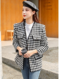 Modern Korea V-neck Houndstooth Thick Tweed Coat