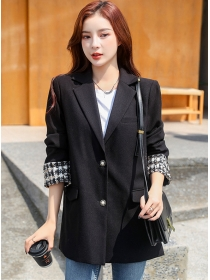 Stylish Korea Tailored Collar Tweed Sleeve Loosen Coat
