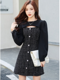 Winter New Single-breasted Tweed Puff Sleeve A-line Dress
