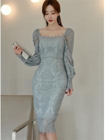 Grace OL Square Collar Lace Flowers Puff Sleeve Slim Dress