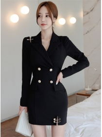 Elegant Lady Double-breasted Tailored Collar Slim Dress