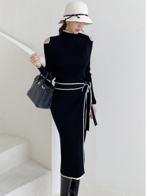 Autumn New Off Shoulder Tie Waist Slim Knitting Dress
