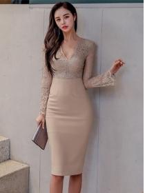 Grace Fashion 2 Colors Lace V-neck Flare Sleeve Slim Dress