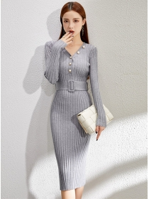Korea Stylish Buttons V-neck Slim Knitting Dress