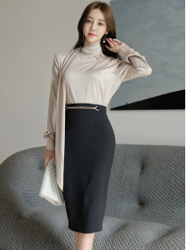 Fashion OL Tie Collar Chain Waist Slim Dress Set