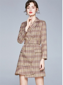 Quality Fashion Double-breasted Plaids Slim Coat Dress