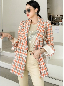 Modern Lady 2 Colors Tailored Collar Houndstooth Coat