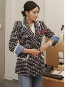 Retro Fashion Tailored Collar Double-breasted Plaids Tweed Coat