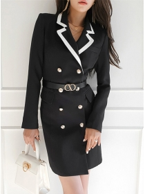Modern Lady Tailored Collar Double-breasted Long Coat