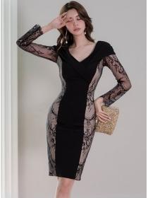 Modern Lady V-neck Lace Flowers Slim Long Sleeve Dress