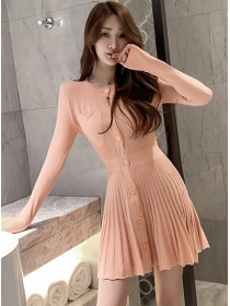 Autumn New 2 Colors Single-breasted Pleated Knit Dress