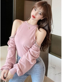 Pretty Korea 3 Colors Chain Off Shoulder Puff Sleeve T-shirt