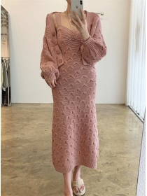 Korea Stylish 3 Colors Puff Sleeve Thick Knitting Dress Set