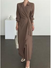 Korea Fashion 3 Colors Tailored Collar Pleated Long Dress