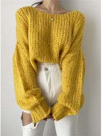 Hot Selling 6 Colors Puff Sleeve Loosen Sweater Pullovers