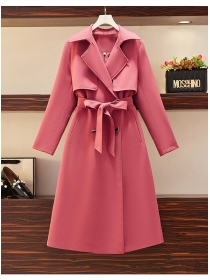 Modern Lady 2 Colors Tailored Collar Tie Waist Long Coat