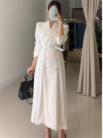 Korea Stylish 2 Colors High Waist Double-breasted Long Dress