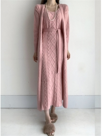 Quality Fashion 3 Colors Knitting Long Coat with Twisted Dress