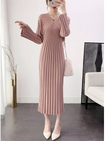 Autumn New 5 Colors Pleated Slim Knitting Long Dress