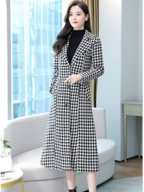 Classic Fashion 2 Colors Houndstooth Thick Tweed Long Coat