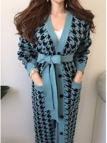 Autumn New 2 Colors Single-breasted Houndstooth Knit Coat