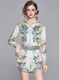 Europe Stylish Shirt Collar Flowers Two Pieces Suits