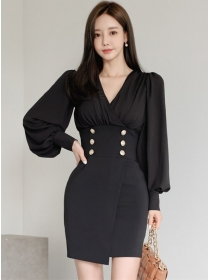 Modern Lady V-neck Double-breasted Puff Sleeve Dress